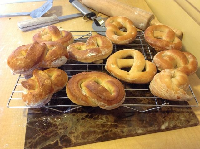 finished pretzels cooling on the rack.  They are very tasty