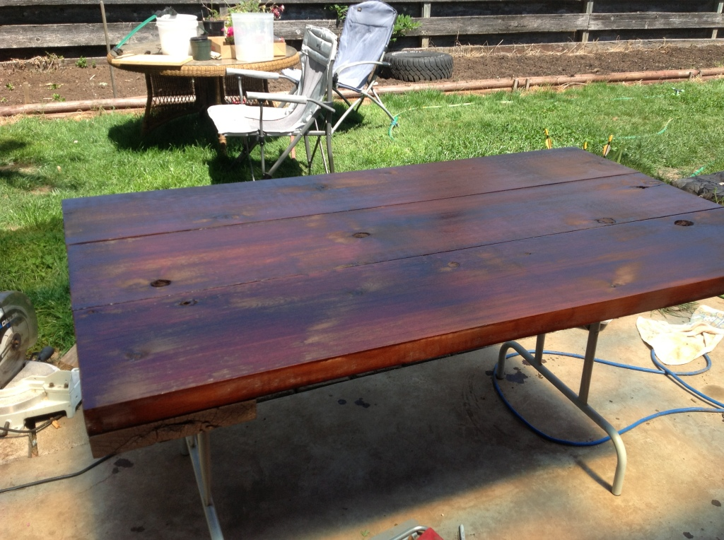 Tabletop after 2nd coat of stain