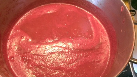 Pureed tomato sauce reducing down the rest of the of the way.