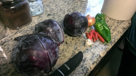 Fresh veggies from the garden to make into Kraut