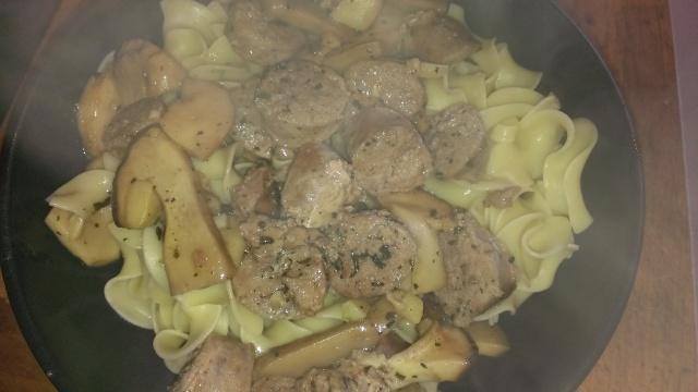 Delicious earthy mushroom sausage wonderfull noodle dish