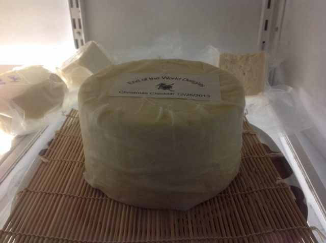 Nice wrapped cheese with a label on it so I don't forget what it is during the year