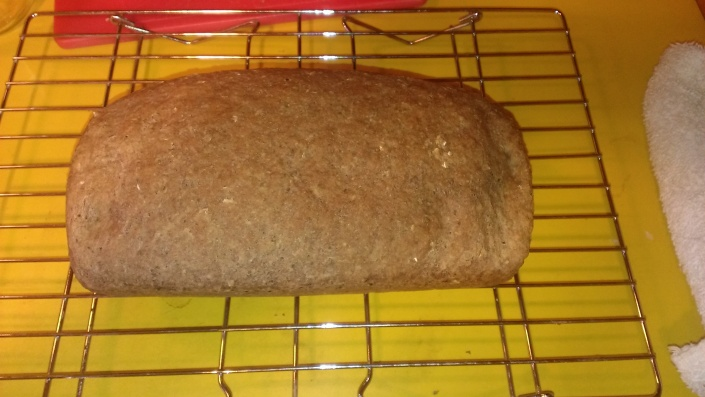 Not the largest loaf of bread but it smells great.