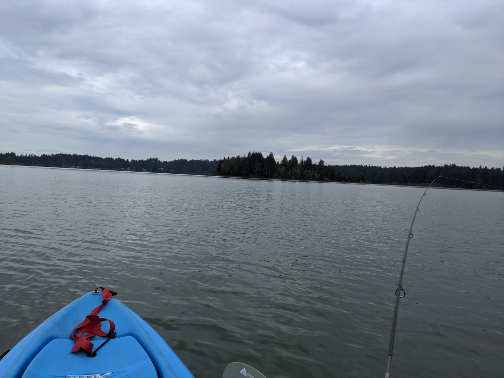 Kayak fishing at Siltcoos lake